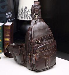 Men Genuine Leather Real Vintage Travel Messenger Shoulder Sling Pack Chest Bag #Unbranded #MessengerShoulderSlingChestBag
