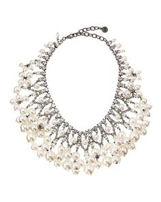 White Pearly Bib Necklace by R.J. Graziano at Neiman Marcus Last Call.