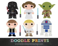Star Wars Clipart - Digital Clip Art Printable - Star Wars Scrapbook - Darth Vader, Yoda, Leia, Luke and Lightsabers - Personal Use Only         April 30, 2014 at 08:40PM