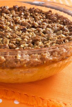 another dish that's great for family get-togethers that will have people clamoring for the recipe. A mix between savory and sweet, this double-duty casserole can be served as a side dish and also satisfies a sweet tooth.Sweet Potato Casserole