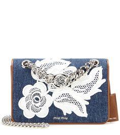 Miu Miu - Lace applique denim shoulder bag - Romantic shoulder bags are a Miu…
