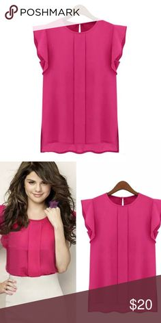 """Gorgeous Pink Blouse with Tulip Sleeves Chiffon material. Gorgeous pink. Single gold button at the back of the neck. Single pleat down the front. Tulip style sleeves. So lightweight and comfortable. Chest measures 19"""". Size says Large but it fits like a Medium. Please go by measurement. Unbranded/New without tags and Direct from the manufacturer. 🌹 Don't forget to combine with other items in my Closet to save money with a Bundle Discount. 🌹 Tops"""