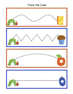 Preschool Printables: Hungry Caterpillar to Beautiful Butterfly Printable-fine motor Preschool Writing, Preschool Printables, Preschool Worksheets, Preschool Learning, Preschool Activities, Free Printables, Preschool Bug Theme, Free Preschool, Printable Tags