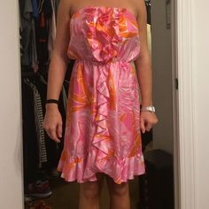 Lilly Pulitzer silk strapless dress Cute sundress, size 8 and only worn once! Lilly Pulitzer Dresses Strapless