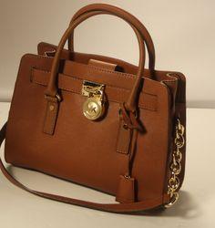 MICHAEL KORS HAMILTON Brown Leather E/W Satchel Shoulder Bag