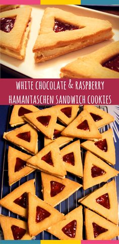 Crisp hamantaschen-shaped vanilla cookies sandwiched together with creamy white chocolate ganache & raspberry jam. A delicious way to celebrate Purim!