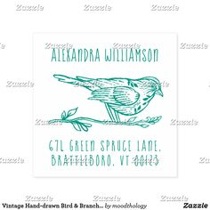 Shop Vintage Hand-drawn Bird & Branch Name & Address Self-inking Stamp created by moodthology. Address Stamp, Return Address Labels, Bird Branch, Business Letter, Sign Off, Vintage Birds, Self Inking Stamps, Ink Color, State Art