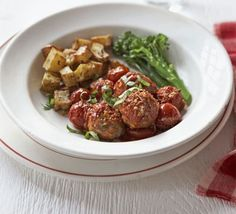 Baked turkey meatballs with broccoli & crispy potatoes recipe - Recipes - BBC Good Food
