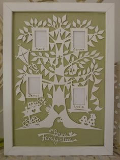 Personalised papercut Family Tree photo frame A4 by PiecesofArt1, £55.00