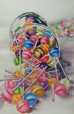 Lollypops Painting by Terry Honstead - Lollypops Fine Art Prints and Posters for Sale Candy Drawing, Food Drawing, Sweet Drawings, Art Drawings, Drawing Art, Sweets Art, Pop Art, Illustration Art Nouveau, Candy Art