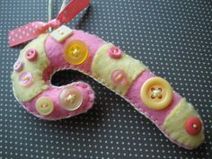 pink and yellow banana mint felt candy cane ornament