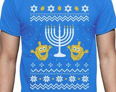 Happy Hanukkah - Ugly Christmas Sweater Men's Short Sleeve T-Shirt
