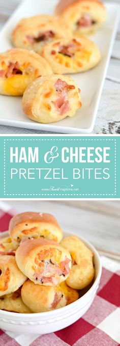 Ham and Cheese Pretzel Bites. a warm and perfect appetizer for any party or gathering. They disappear in a flash and are so easy and delicious! Easy Appetizer Recipes, Yummy Appetizers, Snack Recipes, Cooking Recipes, Party Appetizers, Tostadas, Fingers Food, New Recipes, Favorite Recipes