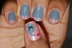 pink and gray elephant nails ...the elephant would be hard, but the elephant feet are cute and easy...