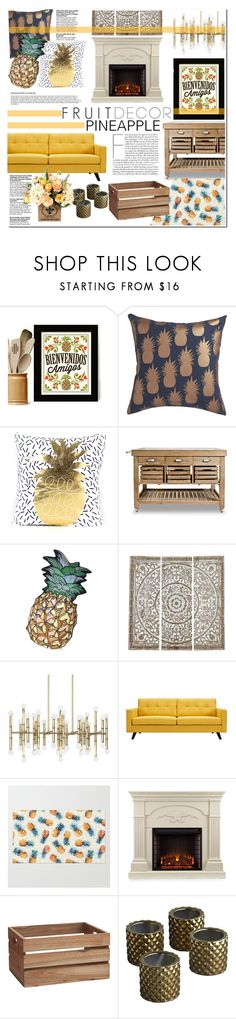 """Pineapple Fruit Decor"" by hafsahshead ❤ liked on Polyvore featuring interior, interiors, interior design, home, home decor, interior decorating, CB2, Silken Favours, NOVICA and Jonathan Adler"