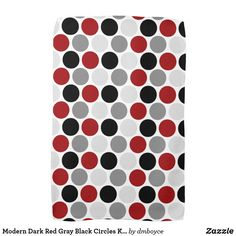 Modern Dark Red, Gray and Black Circles Pattern on White Kitchen Towels. A modern design in bold colors Size: Kitchen Towel x Color: black/gray/red.