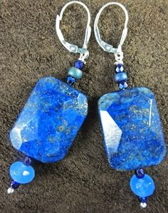 Lapis Blue Earrings of Lapis with by GemstoneJewelrybyVal on Etsy
