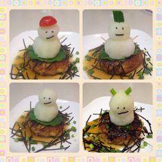 和風豆腐ハンバーグ on 雪だるま