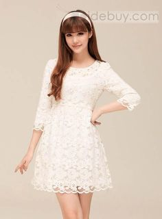 Cheap dress long sleeve tunic dress, Buy Quality dresses office directly from China dress up wedding dresses Suppliers: High Quality 2015 Women Summer dress Plus Size Fashion Cotton White Lace O-Neck Casual Party Dresses vestidos S-XL Sexy Lace Dress, Lace Dress With Sleeves, Babydoll Dress, White Dress, Cheap Dresses, Cute Dresses, Fashion Moda, One Piece Dress, Only Fashion
