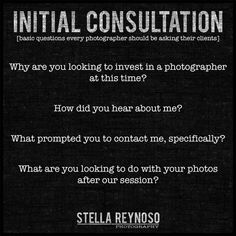 Always wondering what you should ask your clients during your first contact?  A few basic questions to get you started.