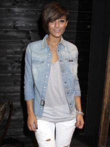 Chambray, gray tee and white jeans- simple Style