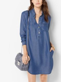 An essential for your off-duty wardrobe, this shirtdress is crafted from super-soft lightweight denim with gilded hardware. Wear it on weekends with ankle boots or sneakers for casual chic. Pakistani Fashion Party Wear, Casual Dresses, Casual Outfits, Mother Denim, Frack, Denim Shirt Dress, Denim Top, Fashion Today, Casual Chic