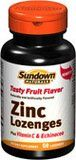 Sundown Naturals tasty fruit flavor dietary supplement zinc lozenges plus vitamin C and echinacea - 50 ea by Sundown Naturals. $3.69. Zinc plays a role in over 300 enzymes in the body. It is essential for cell division and growth and assists in the formation of DNA, the cellÆs genetic material. Zinc helps promote immune function and is involved in carbohydrate, protein, fat and energy metabolism. It has also been shown to promote memory and concentration in c...