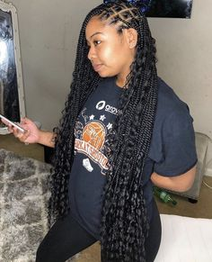 Nice Knotless Box Braids Hairstyles You Can't Miss Box Braids Hairstyles, Black Kids Hairstyles, Braided Hairstyles For Black Women, Baddie Hairstyles, Summer Hairstyles, Wedding Hairstyles, Bandana Hairstyles, Protective Hairstyles, Protective Styles