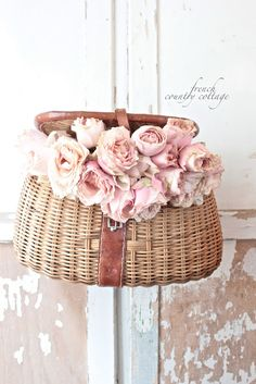 Vintage Fishing Creel makes a beautiful container for fresh cut flowers.