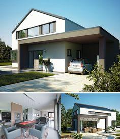 MODERNES EINFAMILIENHAUS   Haus Concept M 172 Bien Zenker   Fertighaus  Satteldach Fassade Putz Terrasse