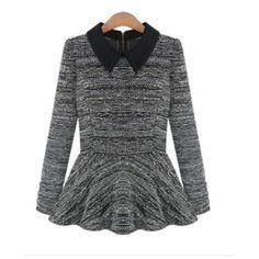 Wholesale Gray Womens Peter Pan Collar Zipper Long Sleeve Knitting Tops Blouse Sweater B9149