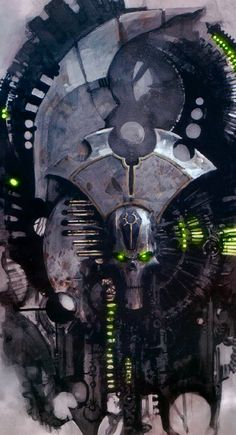 I've never seen the Necrons portrayed like this. They usually take the same color scheme seen here and paste it unto egyptian designs, but this is the first hi-tech style that I've seen of them.