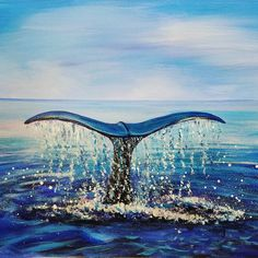 Free Acrylic Tutorial Whale Tail Ocean Seascape Painting by Angela Anderson-- Surfboard Painting, Whale Painting, Nautical Painting, Watercolor Painting, Acrilic Paintings, Seascape Paintings, Animal Paintings, Ocean Paintings On Canvas, Acrylic Painting Tutorials