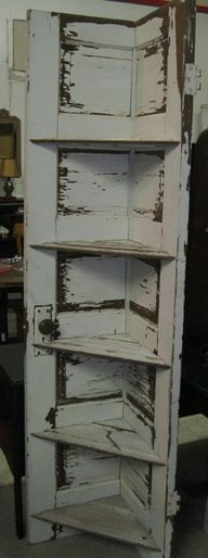 Shelving  with an old door. I'd prefer it to be a little less rustic.