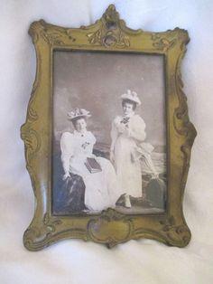 Antique Art Nouveau Enamel Gilt Picture Frame Period Photograph Women by Ocean #Unknown