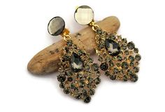 Black diamond Crystal Earrings Champagne Brown Drop Earring