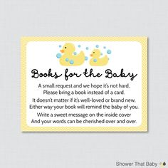 Rubber Ducky Baby Shower Printable Bring a Book Instead of a Card Invitation Inserts in Yellow - Duck Stock Baby's Library Card - 0019-Y by ShowerThatBaby on Etsy https://www.etsy.com/listing/227851665/rubber-ducky-baby-shower-printable-bring