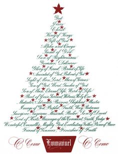 Christmas Tree-Names of Jesus by Clifford Mansley Calligraphy