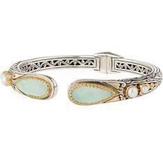 Konstantino Silver & 18k Gold Pearl-Tip Hinge Bracelet EGs224zJhF