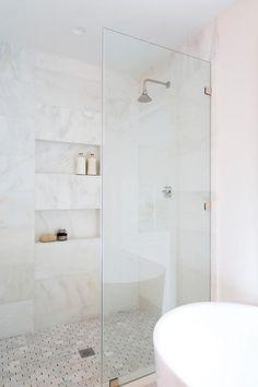 White Marble Bathrooms, Small Bathroom, Master Bathroom, White Bathroom Wall Tiles, Master Shower Tile, Bathroom Niche, Marble Showers, Zen Master, Shiplap Bathroom
