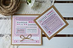 Candy stripe Vintage wedding invitation and save the date. with lace belly band twine bow and seed pearls.