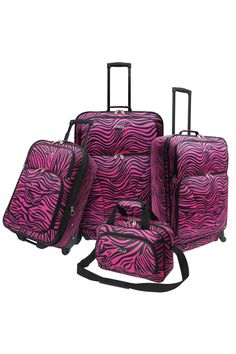Four-Piece Fashion Spinner Luggage Set In Pink Zebra Expansion gusset increases packing capacity by 25 percent; Two exterior zippered pockets; Retractable push-button handle system; 360-degree recessed spinner wheels; Full interior lining with zippered lid mesh pocket; Interior tie down straps; Window ID on back panel Spinner #TieBags #LuggageBags
