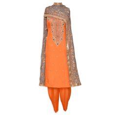 Elegant orange unstitched suit adorn in exquisite handwork-Mohan's the chic window