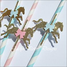 Party Straws, Carousel Theme, Twins Baby Shower, First Birthday Decoration, Merry Go Round, Gold Glitter Pony, Pink, Blue, Stripe, Set Of 24