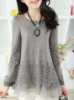 USD$ 26.29 Beauty Patchwork Mesh Hem Long Sleeves Lace Women Blouse, Korean Clothes Online : tidestore.com