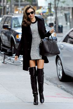Winter Shoes: Miranda Kerr in Thigh-High Boots Street Style. #WomanWithStyle