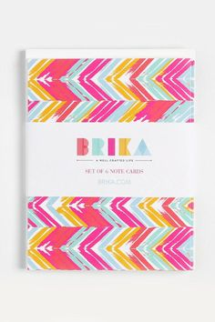 """Set of 6. 4 3/8"""" x 5 3/4"""" size cards with white envelopes.   Chevron Notecards by BRIKA. Home & Gifts - Gifts - Stationery & Office Toronto Canada"""