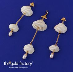 Natural cockle shells crafted with ingenuity into danglers and a matching pendant, all in hallmarked 22K gold. Simple, easy to wear, high on style and low in price, this is the kind of fun, fine jewellery The Gold Factory is famous for.