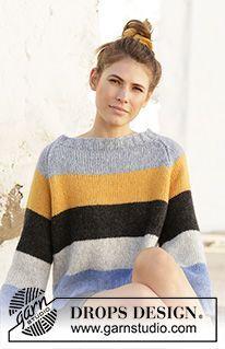 Easy Sweater Knitting Patterns, Knit Cardigan Pattern, Hand Knitted Sweaters, Knit Patterns, Free Knitting, Drops Design, Handgestrickte Pullover, Pull Crochet, Magazine Drops