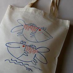 rybule... Textiles, Reusable Tote Bags, Cloths, Textile Art